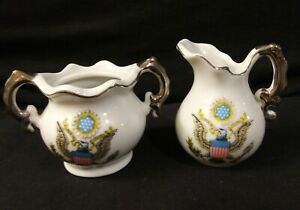 Vintage-Made-in-Japan-Marked-Miniature-Porcelain-Sugar-amp-Creamer-America-Theme