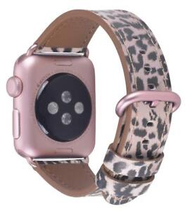 For Apple Watch Band 38mm 40mm Leather Strap 4 3 2 1 Leopard Rose Gold Buckle Ebay