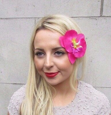 Double Hot Pink Orchid Flower Hair Clip Rockabilly 1950s Fascinator Vintage 3396