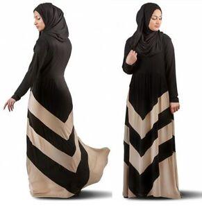 bef71d3f533f Muslim Black Stripe Abaya Maxi Dress Islamic Long Sleeve Arab Jilbab ...