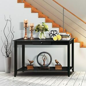 Details About 2 Tiers Wood Console Table Wdrawer Storage Shelf Living Room Entryway Hallway