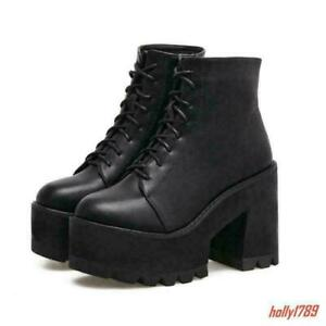 Goth-Punk-Womens-Platform-Chunky-High-Heels-Ankle-Boots-Lace-Up-Shoes-Pumps-New