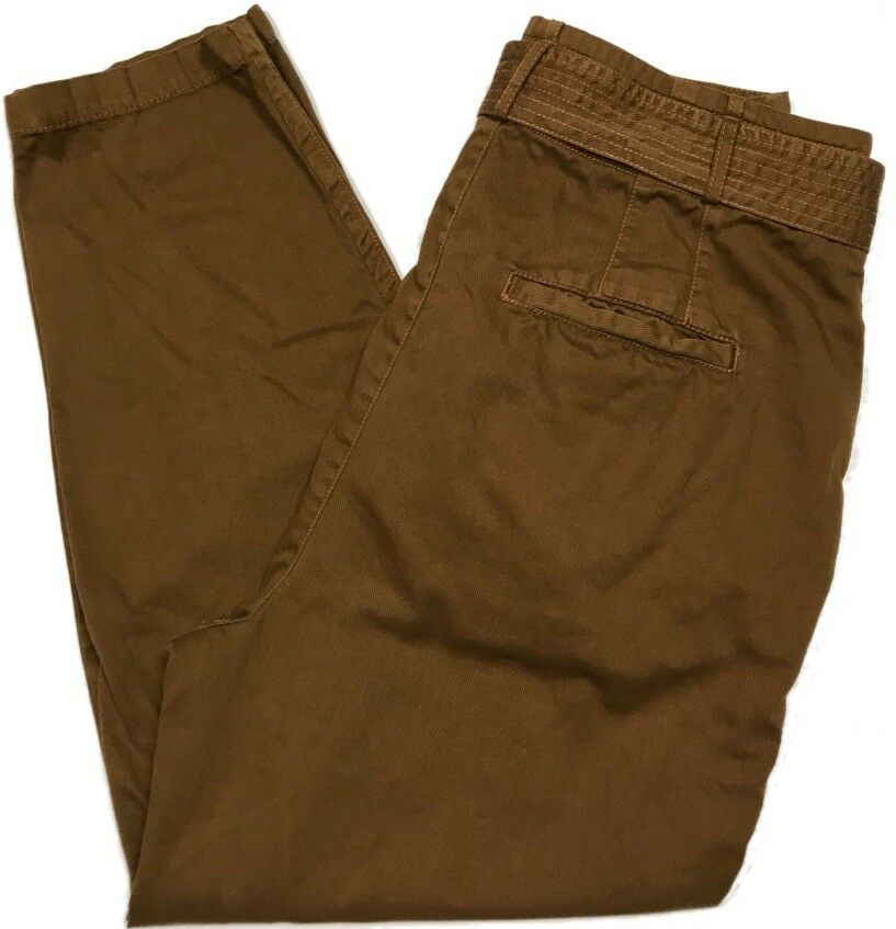 Free People Womens Belted Tie-Waist Brown Tapered Pants Size 10 B331