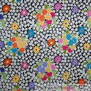 BonEful-Fabric-FQ-Cotton-Quilt-Black-White-B-amp-W-Flower-Rainbow-Bright-Pink-Yellow