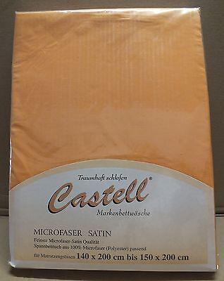2 x Castell Mikrofaser Spannbettlaken 140x200-150x200 1A Qualität orange