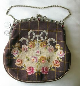 Antique Gold Jewel Frame Brown Wool Floral Petit Point Bow & Floral Purse