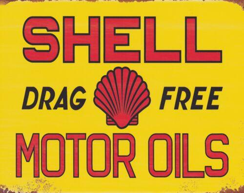 """10 x 8/"""" SHELL MOTOR OIL GARAGE MECHANIC CAR BIKE WORKSHOP METAL PLAQUE SIGN 1770"""