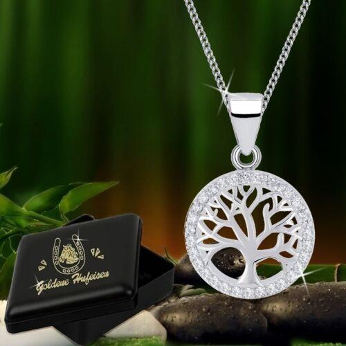 Lebensbaum Halskette Anhänger mit Zirkonia Kristallen 925 Sterlingsilber Damen