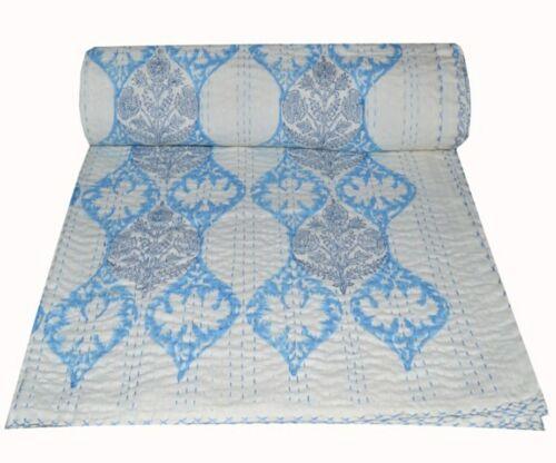 Indian Hand Block Print Kantha Quilt Bedding Bedspread Blanket Cotton Throw