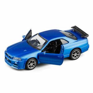 NISSAN-Skyline-GTR-R34-Sports-Car-1-36-Modello-Auto-Diecast-Giocattolo-Bambini-Regalo-Blu