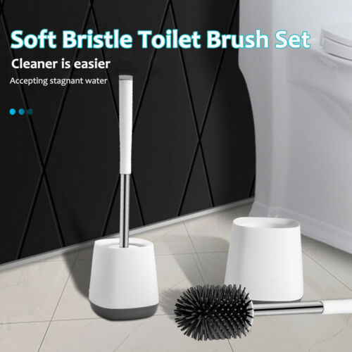 Silicone Soft Bristle Toilet Brush Base WC Bathroom Lavatory Cleaning Tool Set