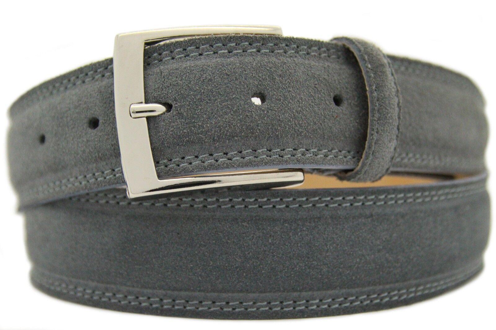 Italian Suede Belt Mens Womens Suede Belt Grey 4cm Wide
