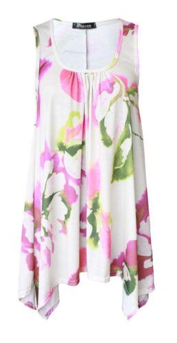 Damen Zipfelsaum Ärmellos Rundhals lange Tunika Ärmelloses Top Kleid Größe 8-26