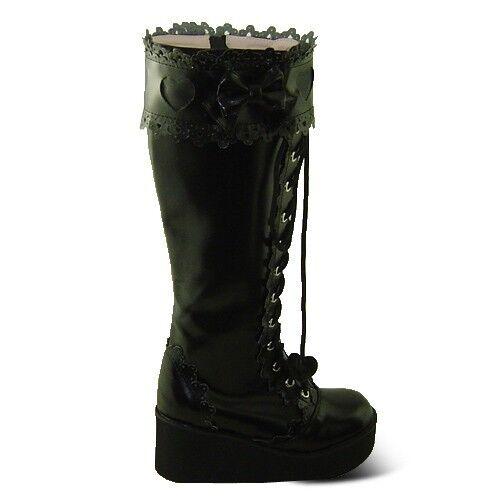 schwarz gothic gotik goth lolita punk stiefel boots Shoes Schuhe high heel damen