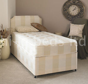 Quality single deep quilt 3ft divan bed and mattress for Good quality divan beds