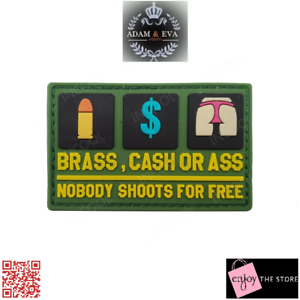 Nobody Shoots for Free Funny Letter Rubber Patch 3D PVC Tactical Military Morale