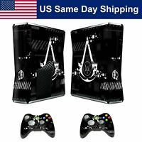 Decal Cover Skin Sticker For Xbox 360 Slim Console & 2 Controllers Watch Dogs