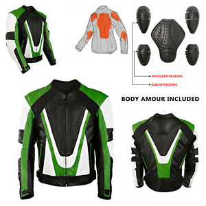 Mens Black CE Armoured Leather Motorbike / Motorcycle Racing Jacket Biker Style