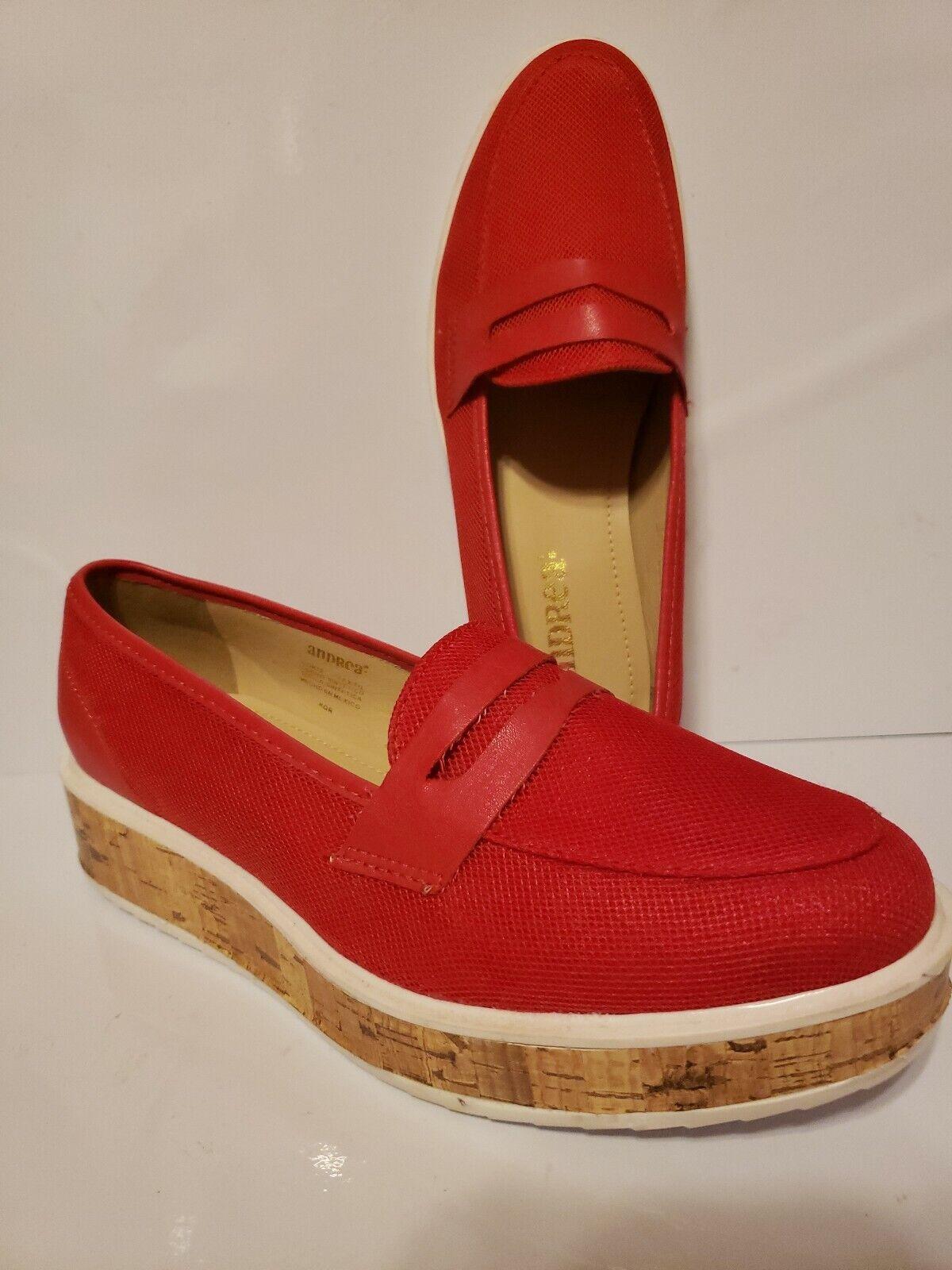 Red Platform Cork Andrea Brand Slip On Loafers Size 7½