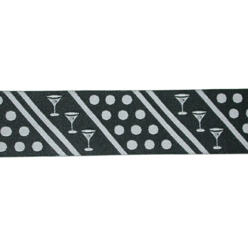 "Black /& Silver Grey Dots /& Wineglasses Jacquard Ribbon x 1yd 1.1//8/"" 28mm"