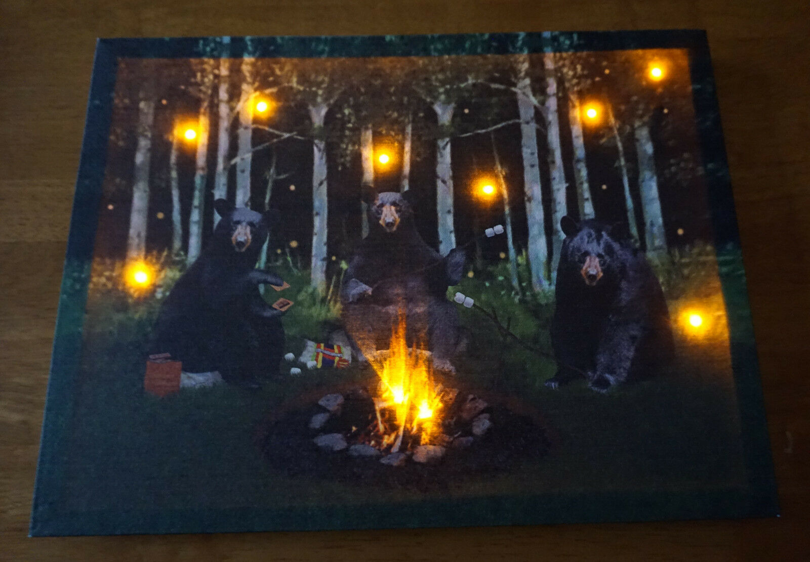 Lighted BLACK BEAR Sign Campfire Smores Camping Log Cabin Lodge Home Decor NEW