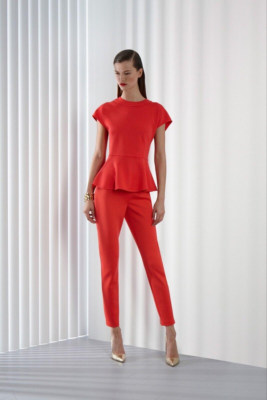 NWOT St John Design Sample Rubin rot Short sleeve Fit & Flare Peplum Top 4
