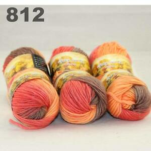 Sale LOT of 6Ballsx50g NEW Chunky Hand-woven Colors Knitting Scores wool yarn 05