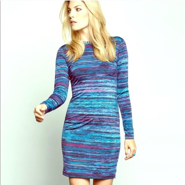 KAREN KANE Blau AND lila SOFT FABRIC LONG SLEEVE DRESS