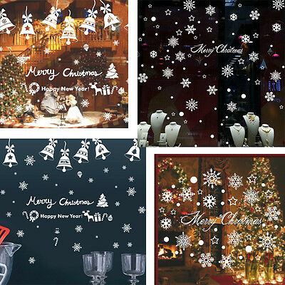 Christmas Bell/Snowflake Glass Window Sticker Removable DIY Wall Art Decal Mural