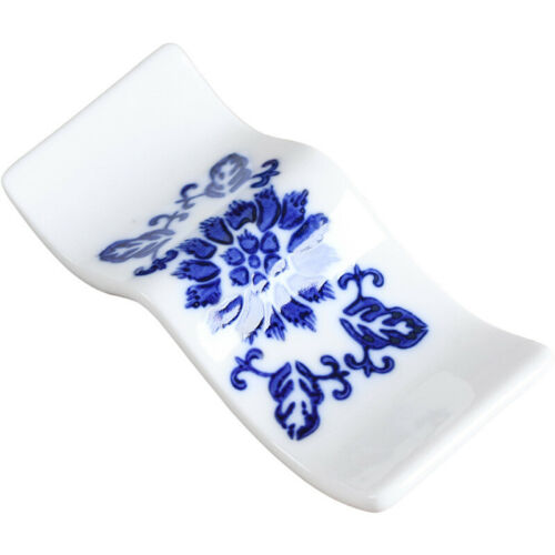 Chinese Ceramic Chopsticks Rack Porcelain Spoon Holder Stand Cutlery Blue Dining