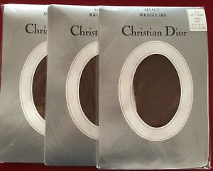 3-Pairs-Christian-Dior-Tights-pantyhose-Soft-Brown-Size-Small