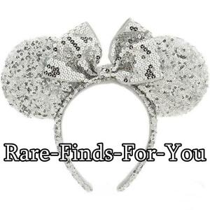 Disney Parks Authentic Minnie Mouse Ears Silver Sequin Headband (NEW ... ee1a5882ac6