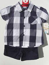 c9c023c35 Carter's Infant Boys 2 Piece Set w/ blue white plaid Button Down shirt &  shorts