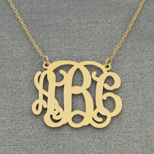 10k Solid Gold 3 Initials Monogram Necklace 1 inch Bridesmaids Gift GM31C