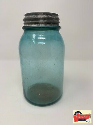 Vintage Blue Ball Mason Glass Jar 1 Quart w/ Zinc Lid Cracked Lid Logo  Faded | eBay