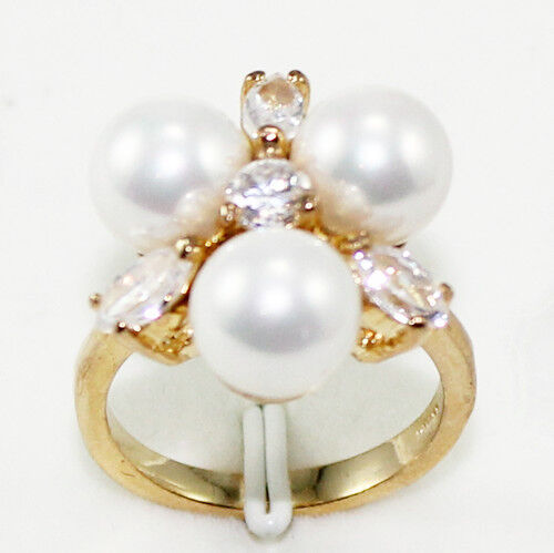 8 mm 18K plaqué or South Sea Shell Pearl Ring Femmes Bijoux