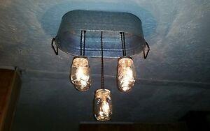 Image Is Loading Rustic Country Mason Jar Light Fixture Wash Tub
