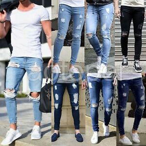 Men-039-s-Casual-Skinny-Jeans-Destroyed-Frayed-Slim-Fit-Denim-Ripped-Pants-Trousers