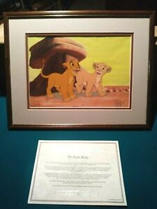 SIMBA AND NALA LIMITED. EDITION DISNEY SERICEL FROM LION KING NEW, CUSTOM FRAMED