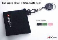 A99 Golf Ball Wash Towel + Retractable Reel - Absorbs 3x More Than Cotton