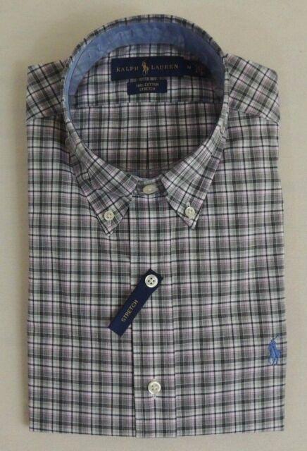 2e1377ad270b Polo Ralph Lauren Pony Button Down Stretch Plaid Classic Dress Shirt S M XL  GREY