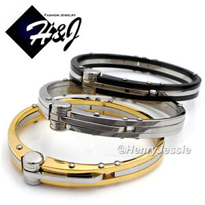 MEN-Stainless-Steel-Simple-Plain-Black-Gold-Silver-Bangle-Handcuff-Bracelet-B13