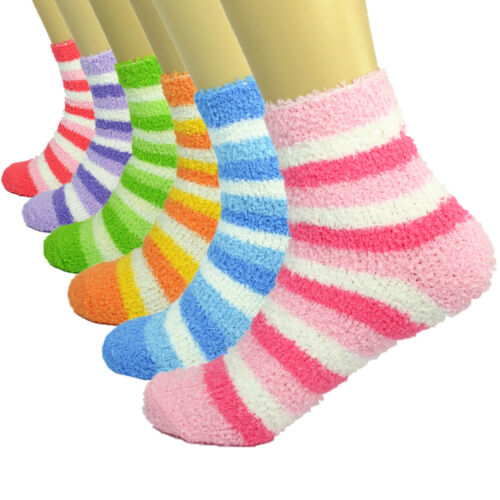 3-10 Pairs For Women/'s Soft Cozy Fuzzy Crew Striped Socks Winter Warm Slipper