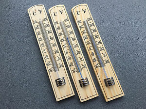 3x-Thermometer-20cm-Holz-Zimmerthermometer-Aussenthermometer-Holzthermometer-5