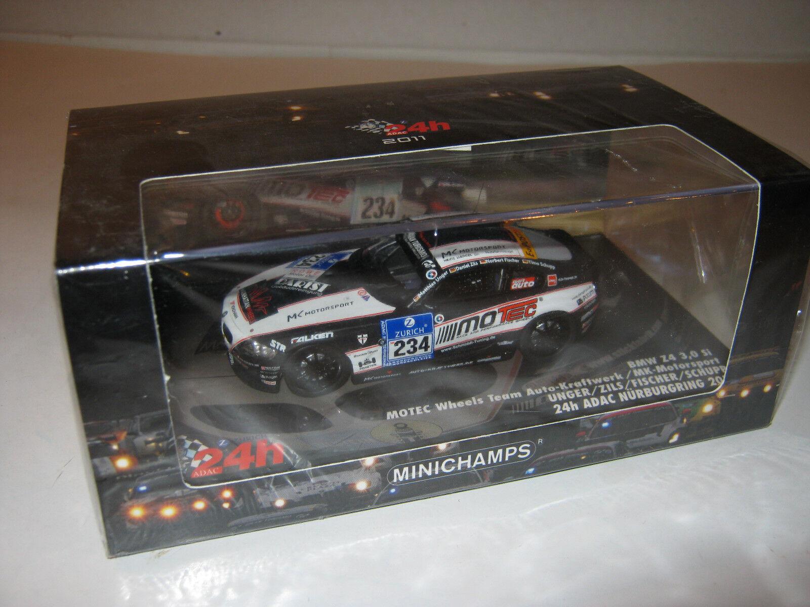 1 43 BMW Z4 3.0 Si Unger Zils 24 hrs. Nürb 2011 Minichamps 437111234 OVP new LE