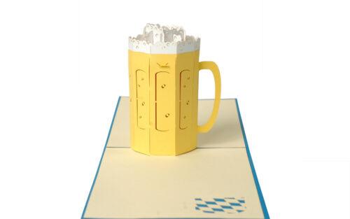 3D Klappkarte Bierkrug Glückwunschkarte Urlaub Feiern Grußkarte