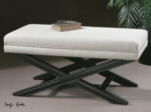 Brilliant Details About Black Crackled Mahogany Woven Fabric Bench Seat Large 42 Machost Co Dining Chair Design Ideas Machostcouk