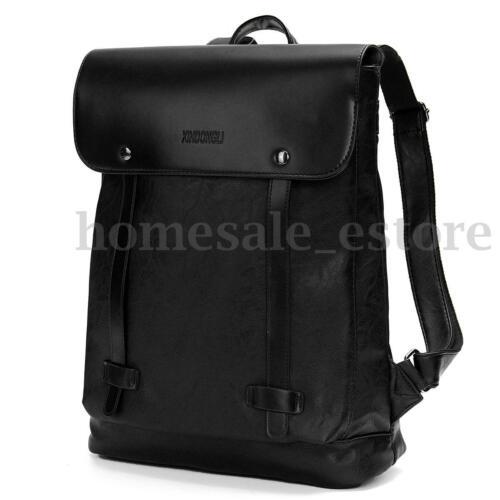 Men Women Vintage Leather Backpack Messenger Bag Satchel Laptop Travel Rucksack