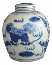 Antique Style Blue and White Porcelain Lion Dancing Ceramic Covered Jar Vase,...