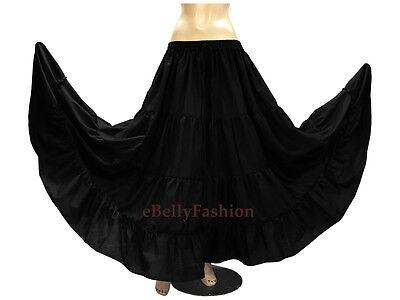 Women Cotton 4 Tiered 6 Yard Skirt Maxi Belly Dance Gypsy Flamenco Tribal Jupe